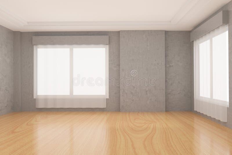Stanza vuota nel pavimento di parquet di legno e del muro di cemento nella rappresentazione 3D royalty illustrazione gratis