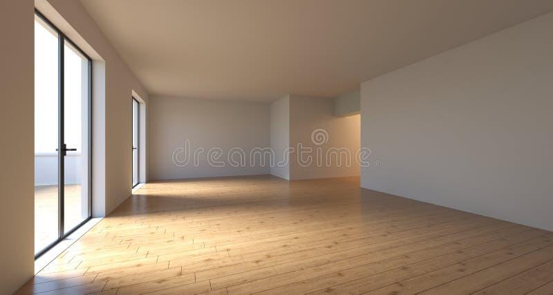 Stanza vuota realistica con le grandi porte della finestra in Sunny Day rende 3D illustrazione di stock