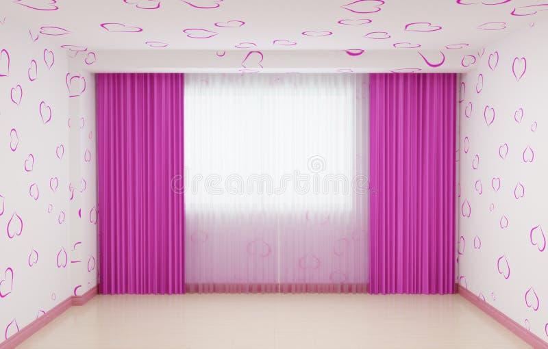 Stanza vuota rinnovata per le ragazze nel rosa L'interno ha un plinto e tende nel rosa immagini stock