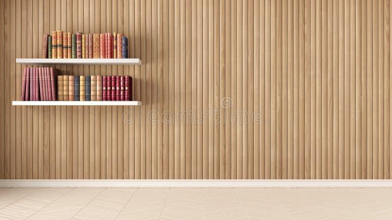 Stanza vuota, scaffali con i vecchi libri, parquet di spina di pesce e legno fotografie stock libere da diritti
