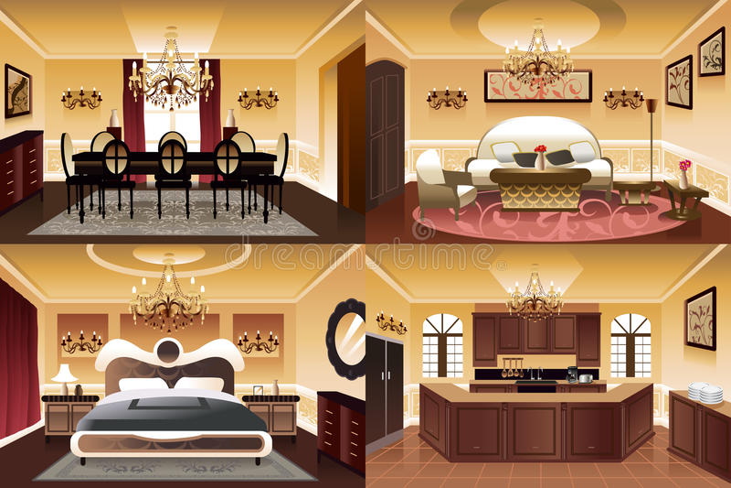 Stanze dentro la casa royalty illustrazione gratis