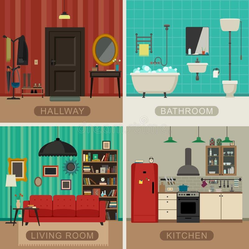 Stanze di base dell 39 appartamento illustrazione vettoriale - Piane del bagno ...