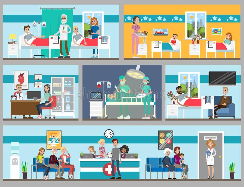 Stanze di ospedale messe illustrazione di stock