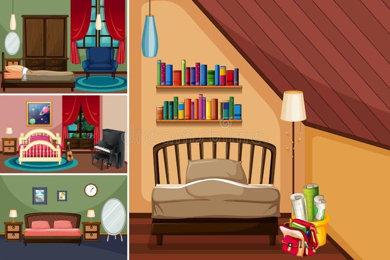 Stanze differenti nella casa illustrazione di stock