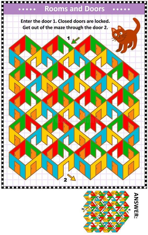 Stanze e gioco variopinto del labirinto delle porte con il gatto rosso illustrazione di stock