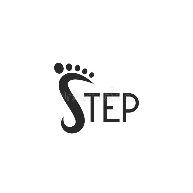 Stap die van de embleemvoetafdruk logotype, abstract s-brievensymbool, tekstembleem voor schoenen winkelt, voetpictogram de van l vector illustratie