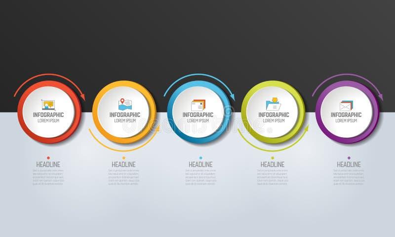 5 stap Infographic Cirkels met pijlen vector illustratie