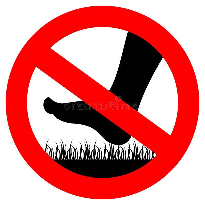 Stap niet op gras vectorteken royalty-vrije illustratie