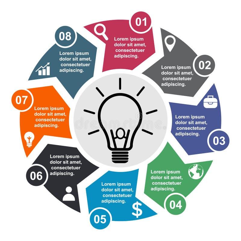 8 stap vectorelement in acht kleuren met etiketten, infographic diagram Bedrijfsconcept 8 stappen of opties met bol royalty-vrije illustratie