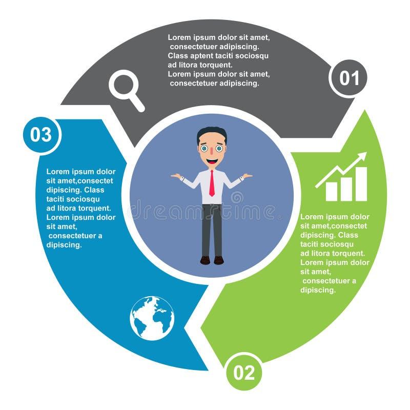 3 stap vectorelement in drie kleuren met etiketten, infographic diagram Bedrijfsconcept 3 stappen of opties met bussinesman stock illustratie