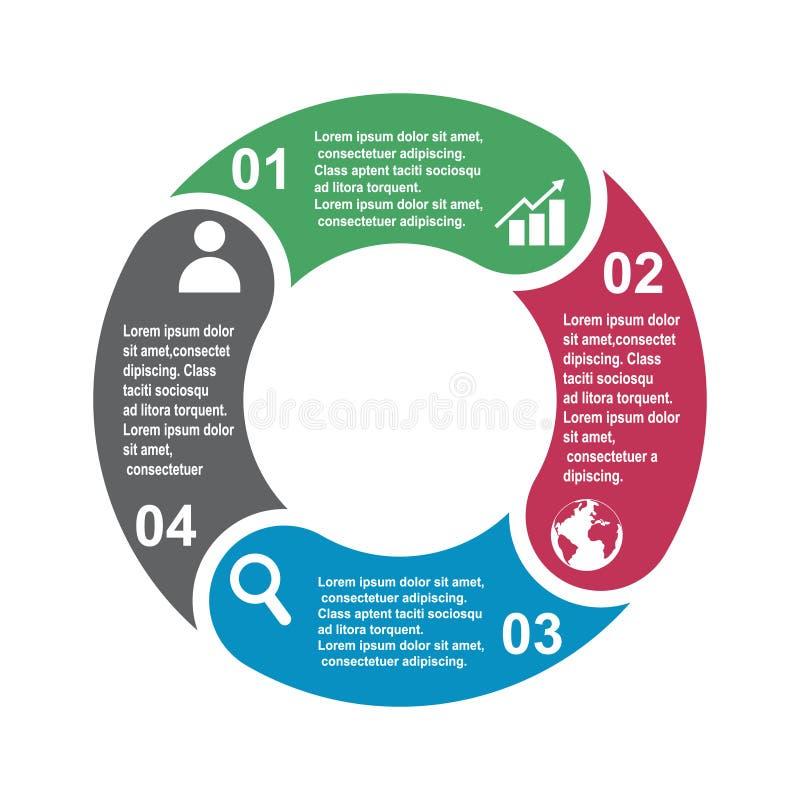 4 stap vectorelement in vier kleuren met etiketten, infographic diagram Bedrijfsconcept 4 stappen of opties met leeg stock illustratie