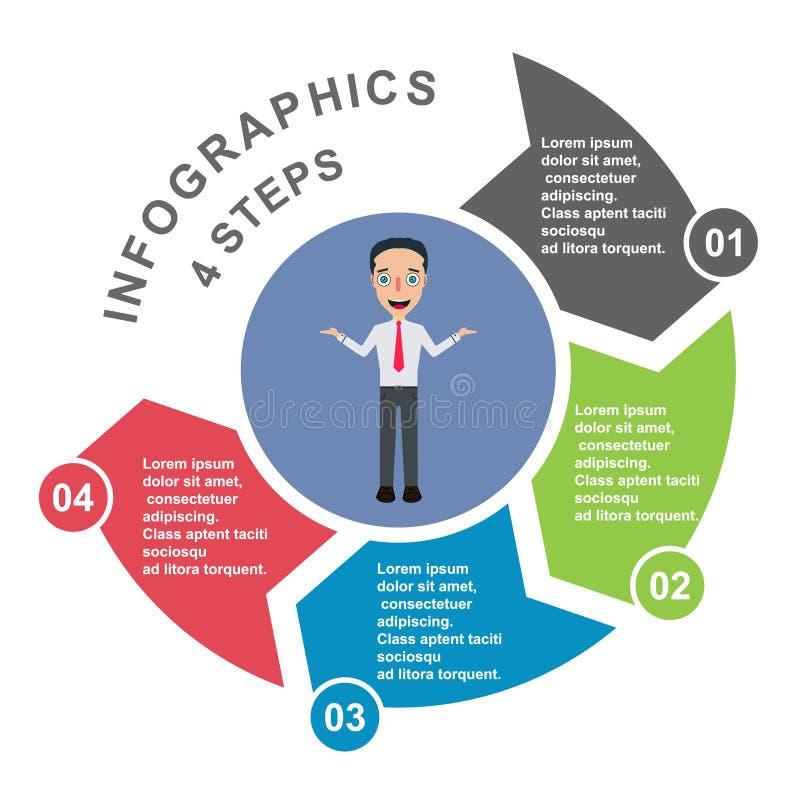 4 stap vectorelement in vier kleuren met etiketten, infographic diagram Bedrijfsconcept 4 stappen of opties met zakenman royalty-vrije illustratie