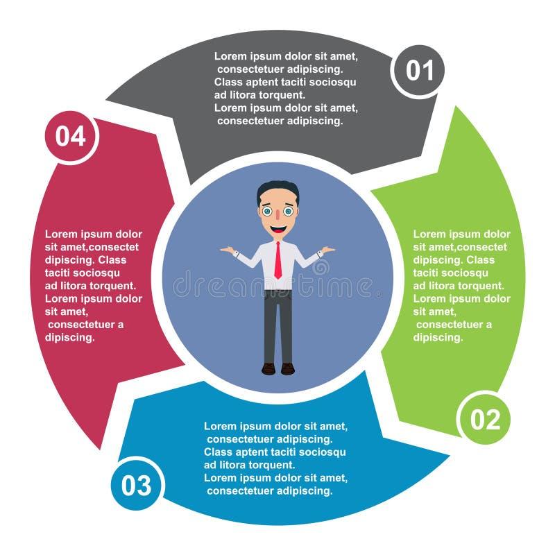 4 stap vectorelement in vier kleuren met etiketten, infographic diagram Bedrijfsconcept 3 stappen of opties met zakenman n royalty-vrije illustratie