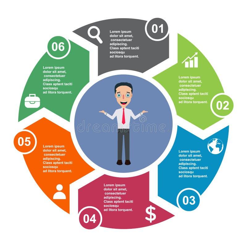 6 stap vectorelement in zes kleuren met etiketten, infographic diagram Bedrijfsconcept 6 stappen of opties met zakenman royalty-vrije illustratie