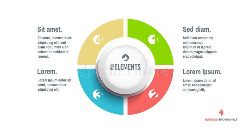 Stap voor stap Start infographic malplaatje met 4 stappen Bedrijfs concept Vectorillustratie voor marketing, onderzoek, statistie vector illustratie