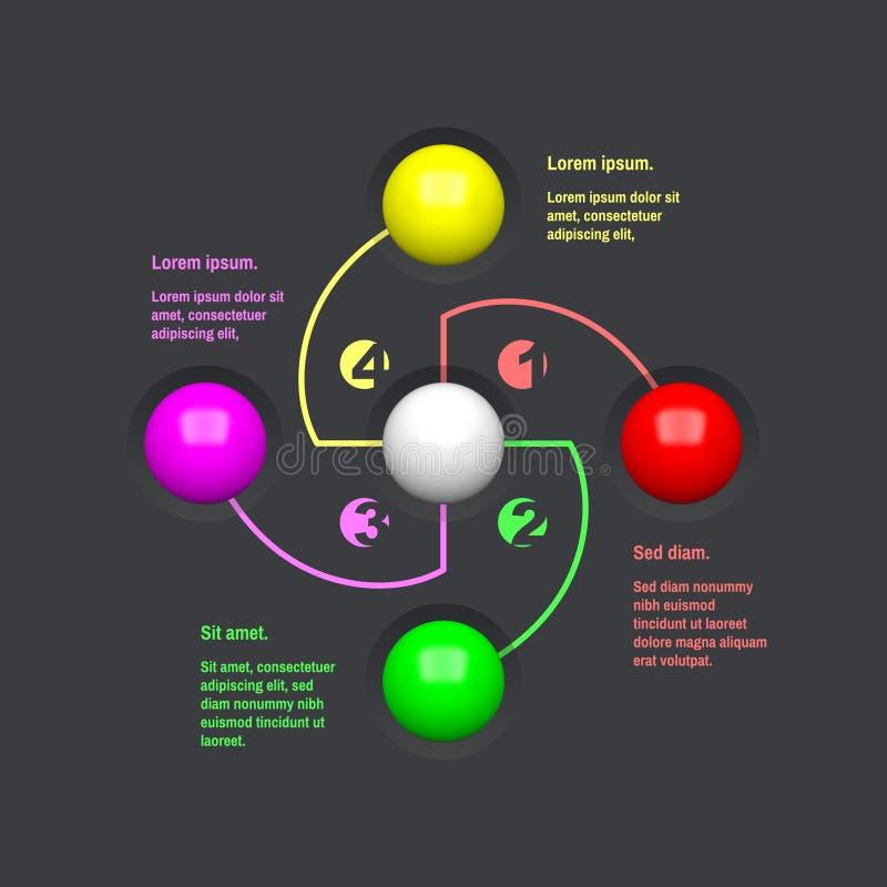 Stap voor stap Start infographic malplaatje met 4 stappen Bedrijfs concept Vectorillustratie voor marketing, onderzoek, statistie stock illustratie