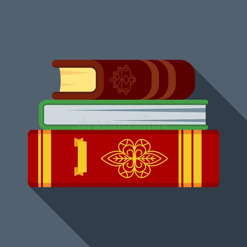 Stapel alte magische Bücher in den starken Ledereinbänden Flache Vektorillustration stock abbildung