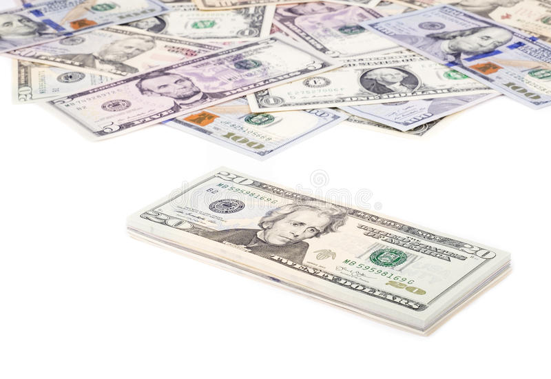 Stapel Amerikaanse dollarrekeningen met 20 Dollars op Bovenkant 2 stock foto