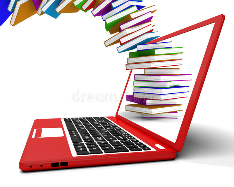 Stapel Bücher, die vom Computer fliegen lizenzfreie abbildung