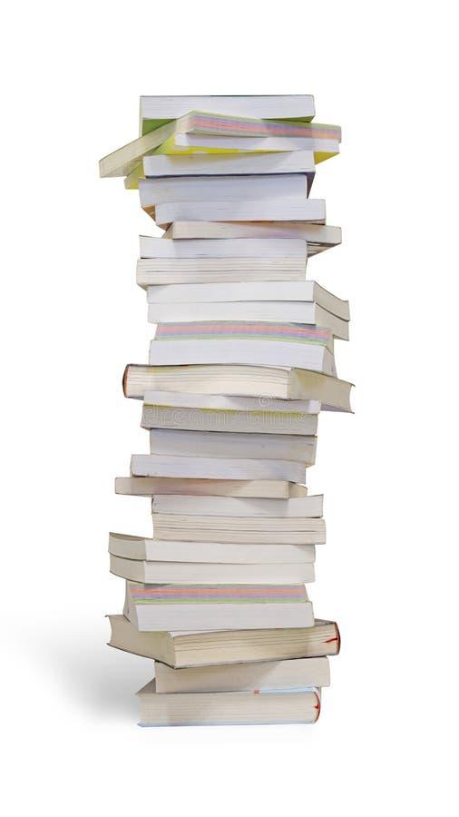 Stapel Bücher getrennt auf weißem Hintergrund lizenzfreies stockfoto