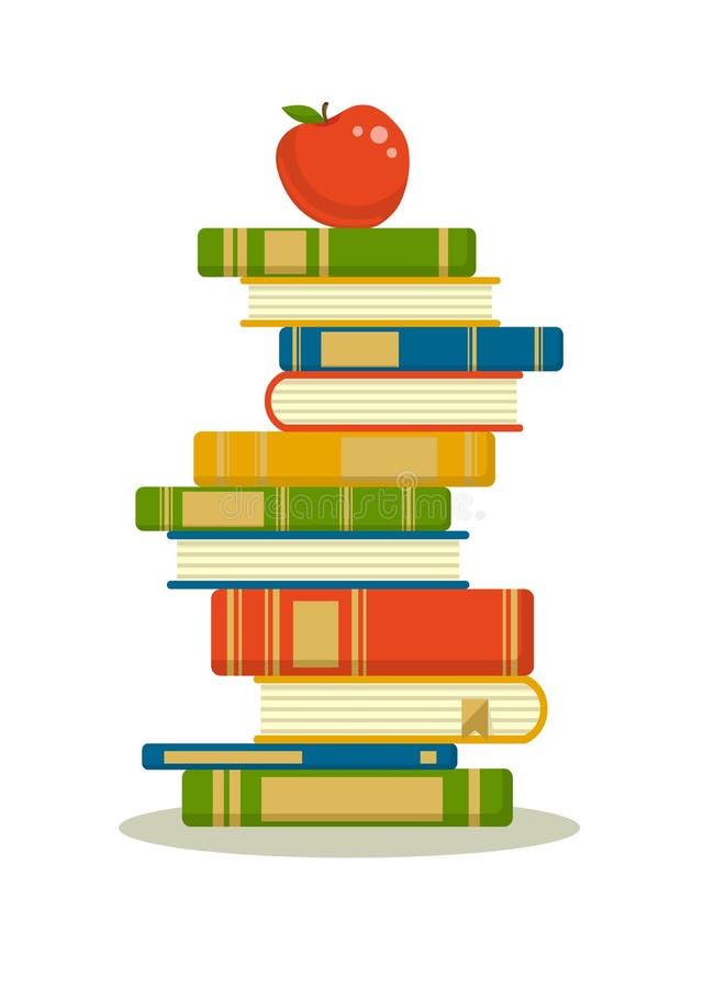 Stapel Bücher mit rotem Apfel lizenzfreie abbildung