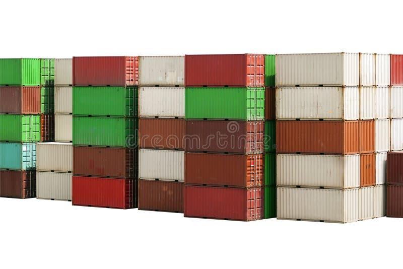 Stapel Behälter-Fracht lokalisiert auf Weiß stockfotografie