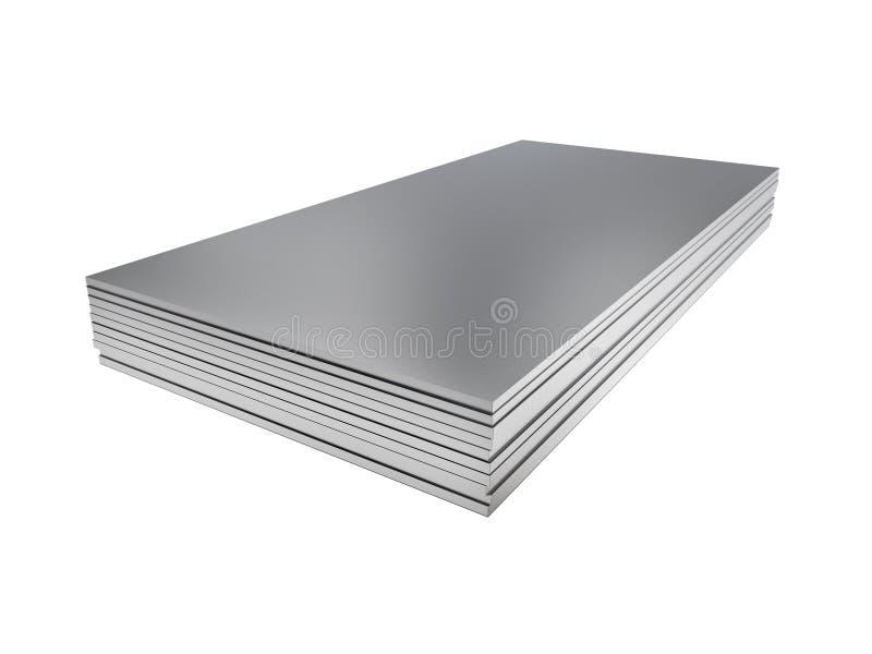 Stapel bladen van het staalprofiel 3D Illustratie vector illustratie