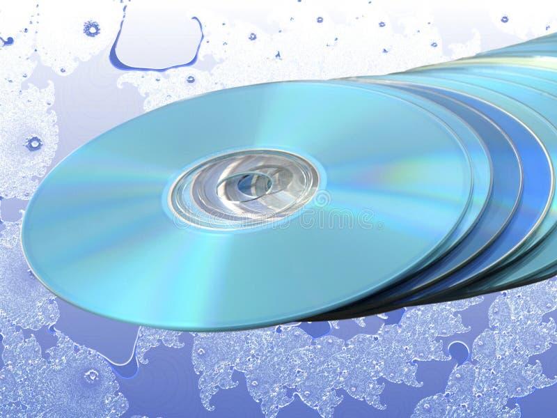 Stapel blaue Platte-Platten über blauem Fractal stockbilder