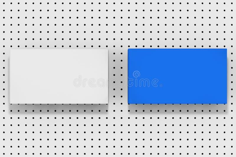 Stapel Blauwe en Witte Lege Modeldocument Bladen op een Witte Kleine Polka Dot Background het 3d teruggeven royalty-vrije illustratie