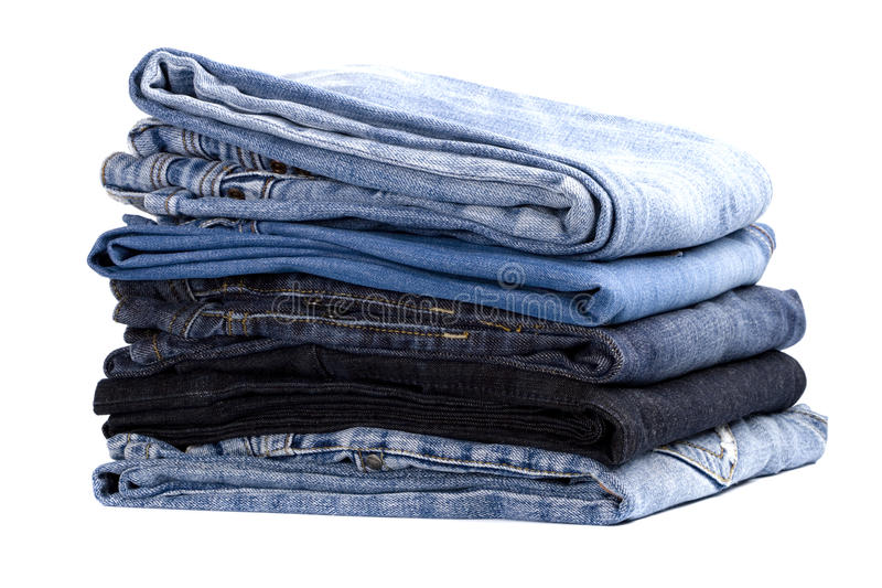 Stapel Blue Jeans stockbilder