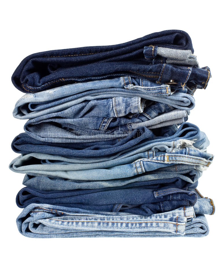 Stapel Blue Jeans lizenzfreies stockbild
