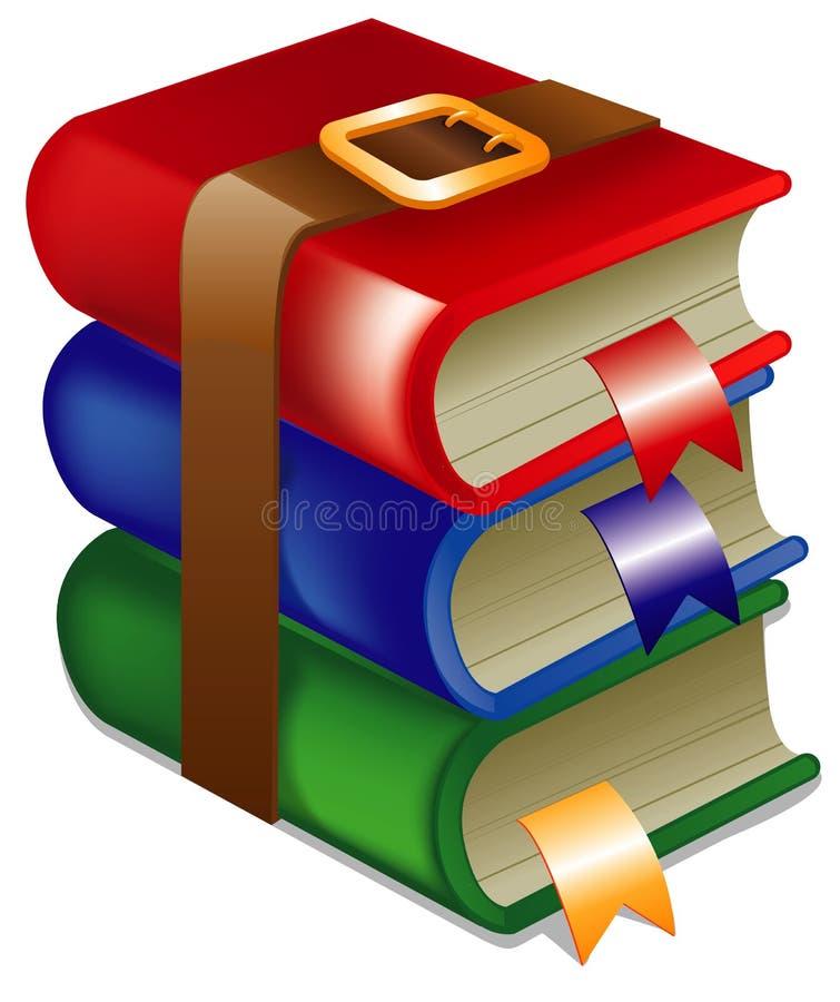 Stapel boeken die aan een riem worden verbonden royalty-vrije illustratie