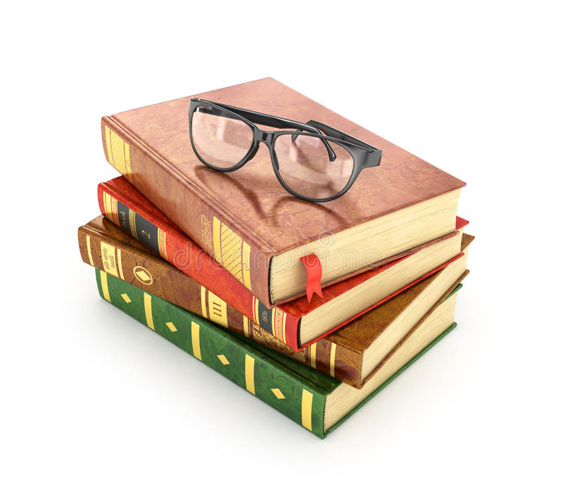 Stapel boeken met een paar oogglazen op bovenkant stock foto
