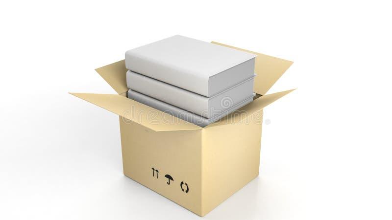 Stapel boeken met lege dekking binnen een open kartonvakje royalty-vrije illustratie