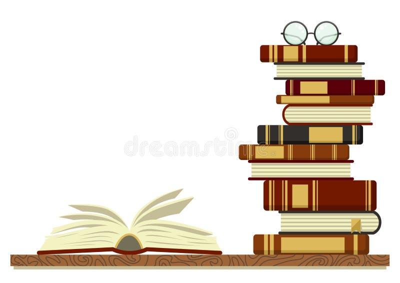 Stapel boeken met open boek en glazen op witte achtergrond stock illustratie