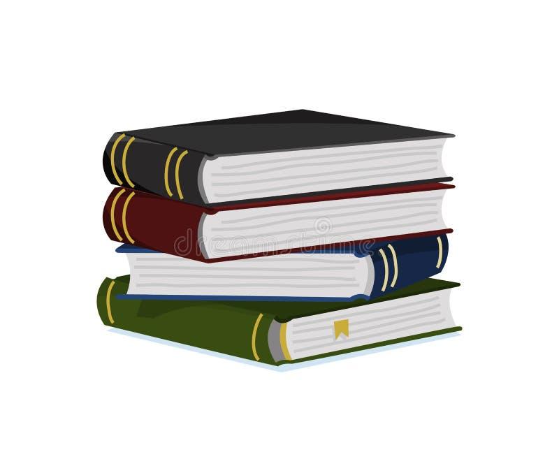 Stapel boeken voor Minnaar van literatuur Encyclopedie?n voor lezing Omgekeerde pagina's Voorwerp in eigentijdse stijl Vector vector illustratie