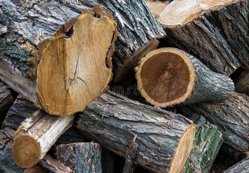 Stapel Brennholz Stapel der hölzernen Protokolle betriebsbereit zum Winter stockfoto
