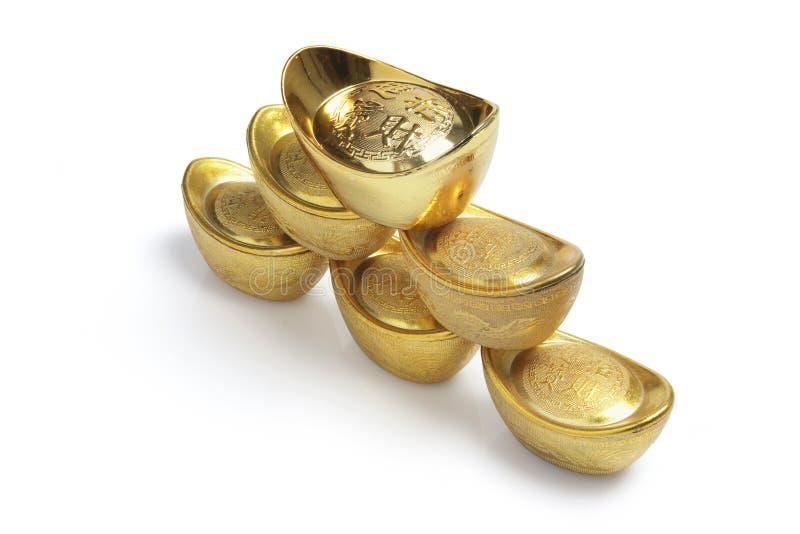 Stapel chinesische Goldbarren lizenzfreies stockbild