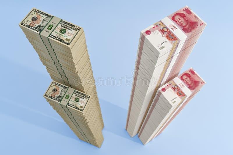 Stapel chinesischer 100 Yuan-Rechnungen und 10 Dollar-Scheine lizenzfreie abbildung