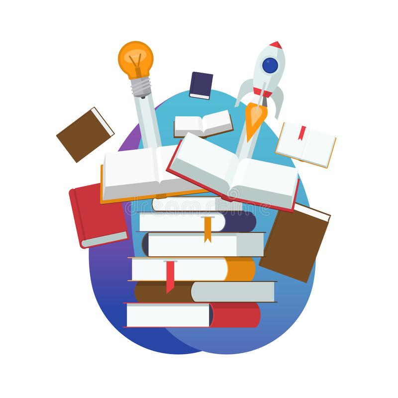Stapel der Bücher Anfang einer neuen Idee stock abbildung