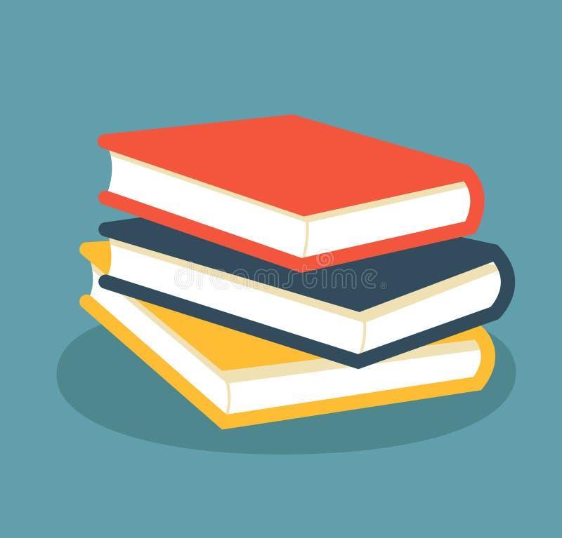 Stapel der Bücher Farbiges Buchdesign in der flachen Art lizenzfreie abbildung