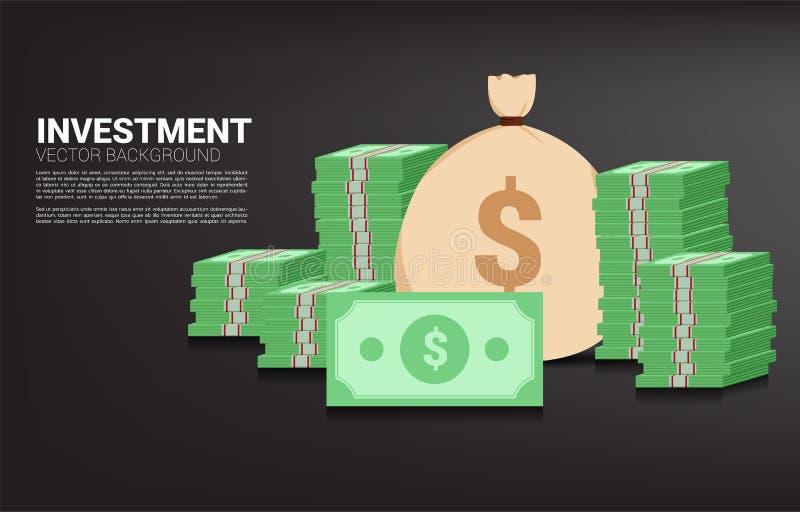 Stapel der Banknote mit Geldtasche lizenzfreie abbildung