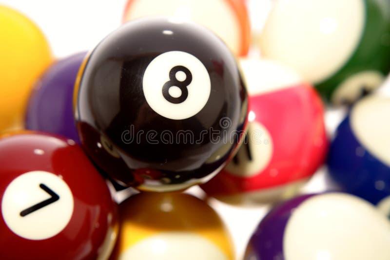 Stapel der Billiardkugeln stockbild