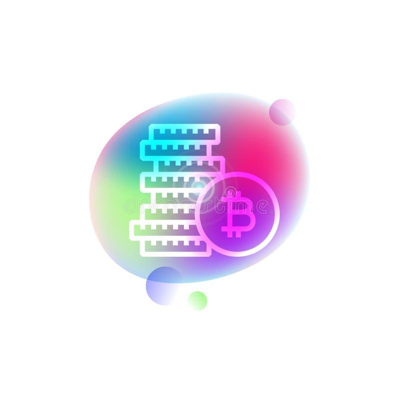 Stapel der bitcoins Neonikone vektor abbildung