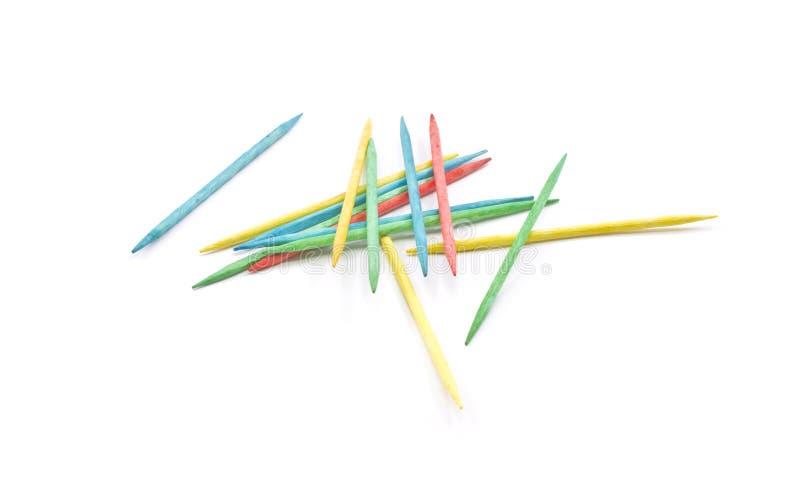 Stapel der bunten Toothpicks stockbilder