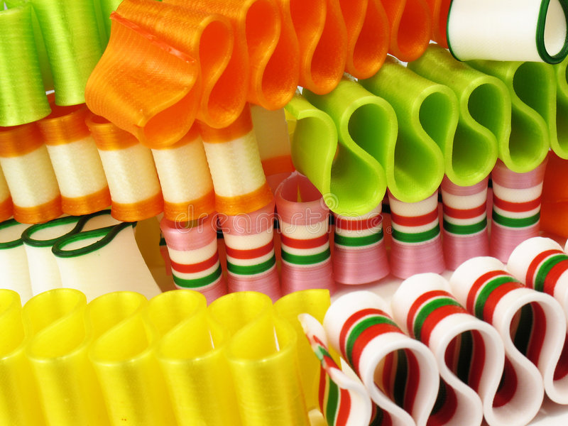 Stapel der Farbband-Süßigkeit stockbild