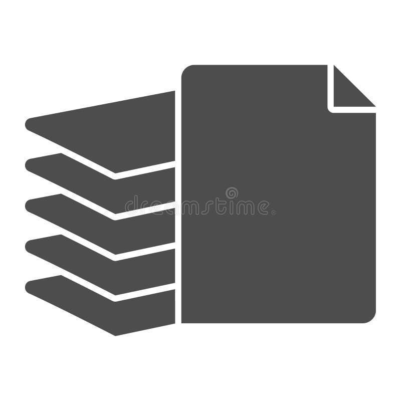 Stapel der festen Papierikone Dateivektorillustration lokalisiert auf Wei? Stapel des Dokumente Glyph-Artentwurfs, entworfen vektor abbildung