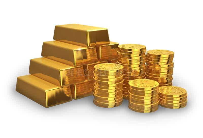 Stapel der goldenen Barren und der Münzen lizenzfreie abbildung
