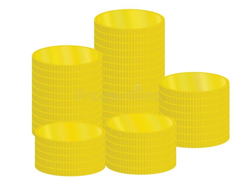 Stapel der goldenen Münzen stock abbildung