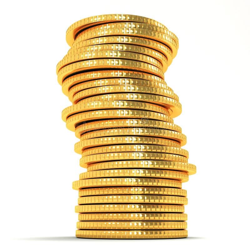 Stapel der Goldmünze stock abbildung